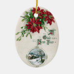 Poinsettias, Mistletoe & Vignette Vintage New Year Ceramic Ornament