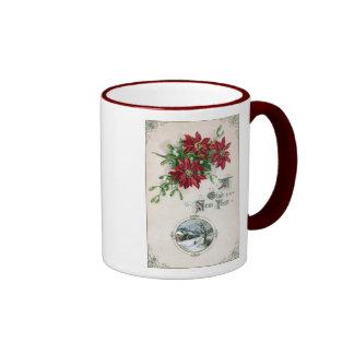 Poinsettias, Mistletoe & Vignette Vintage New Year Coffee Mug