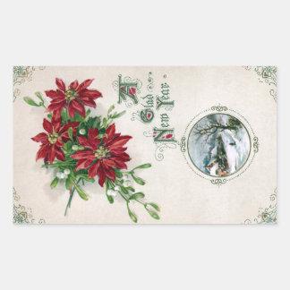Poinsettias, Mistletoe & Vignette Vintage New Year Rectangular Sticker