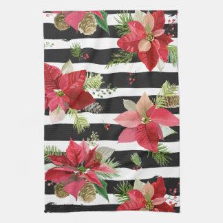 Poinsettias on Black, White Stripes Kitchen Towel