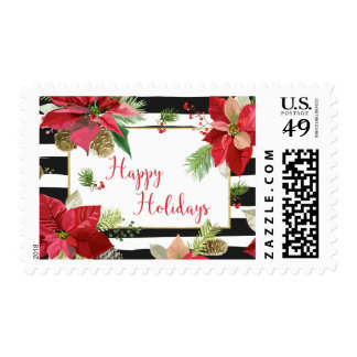 Poinsettias on Black, White Stripes Postage