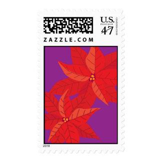 Poinsettias on Purple Postage