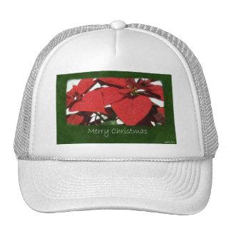 Poinsettias rojos 2 - Felices Navidad Gorras