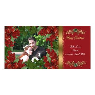 Poinsettias rojos clásicos de la tarjeta de la fot tarjetas personales