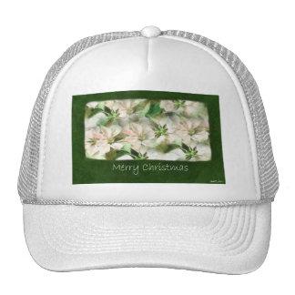 Poinsettias rosados y blancos 1 - Felices Navidad Gorros