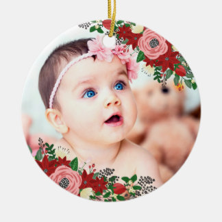 Poinsettias & Roses | Baby's First Christmas Ceramic Ornament
