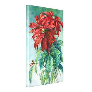 Poinsettias Vintage Art Wrapped Canvas Canvas Print