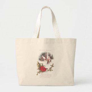 Poinsettias y navidad del vintage de la iglesia de bolsa