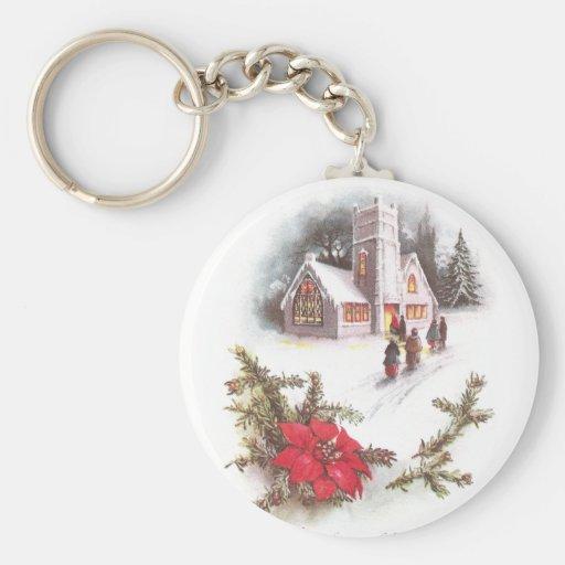Poinsettias y navidad del vintage de la iglesia de llavero redondo tipo pin