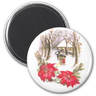 Poinsettias y navidad selvático del vintage de la  imán redondo 5 cm
