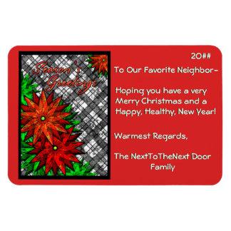 Poinsettias y tela escocesa (tarjeta de Navidad ma Imanes Rectangulares