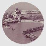 Point Au Fer Reef Lighthouse Round Stickers