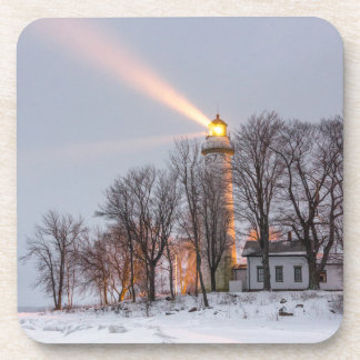 Point aux Barques Lighthouse-Hard Plastic coasters