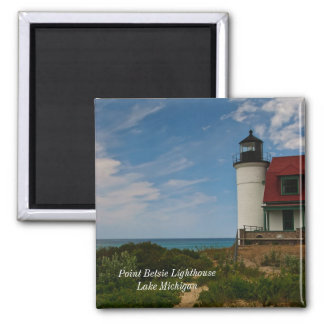 Point Betsie Lighthouse 2 Inch Square Magnet