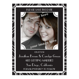 Point Block Black Art Deco Save the Date Postcard