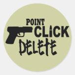 Point Click Delete Round Sticker