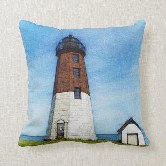 Point Judith lighthouse art pillow