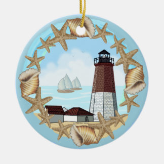 Point Judith lighthouse Ceramic Ornament