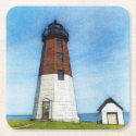 Point judith lighthouse coasters square paper coaster