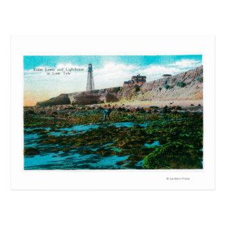 Point Loma y faro con marea baja Tarjetas Postales