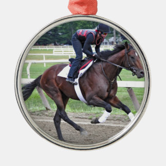 """""""Point of Entry"""" Champion Turf Horse Silver-Colored Round Ornament"""