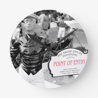 Point of Entry Lawn Jockey Round Wall Clock