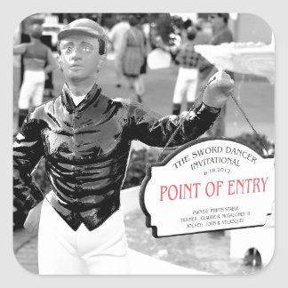 Point of Entry Lawn Jockey Square Stickers