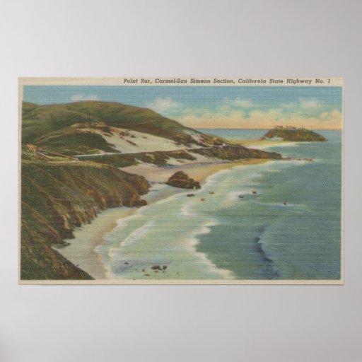 Point Sur, Carmel San Simeon Section, Hwy 1 View Poster