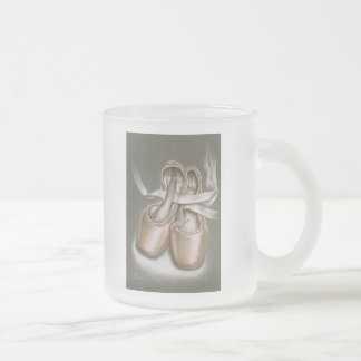 Pointe shoes frosted glass coffee mug