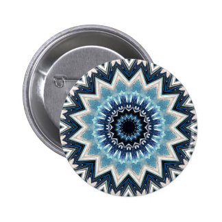 Pointed Blue Mandala Pinback Button