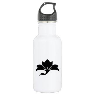 Pointed-leaf crane-shaped rhombic flower 18oz water bottle
