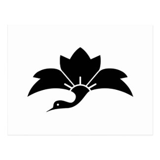 Pointed-leaf crane-shaped rhombic flower postcard