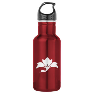 Pointed-leaf crane-shaped rhombic flower stainless steel water bottle