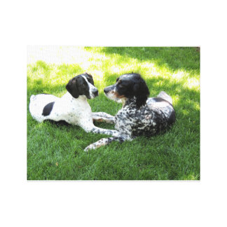 Pointer and Setter Love Canvas Print