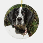 Pointer Love Double-Sided Ceramic Round Christmas Ornament