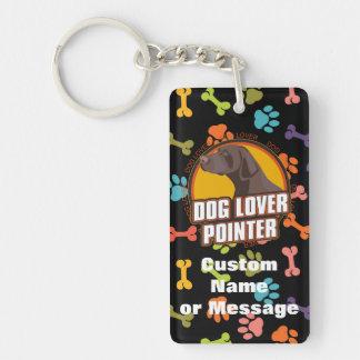 Pointer Paw Bones Dog Breed Custom Name Double-Sided Rectangular Acrylic Keychain