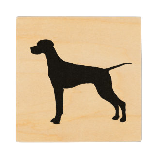 Pointer Silhouette Love Dogs Wooden Coaster