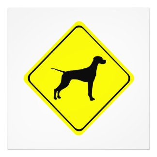 Pointer Warning Sign Love Dogs Silhouette Photo Print