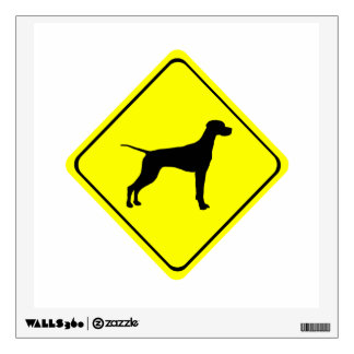 Pointer Warning Sign Love Dogs Silhouette Wall Decal