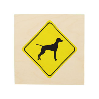 Pointer Warning Sign Love Dogs Silhouette Wood Wall Decor