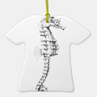 Pointilism Seahorse Double-Sided T-Shirt Ceramic Christmas Ornament