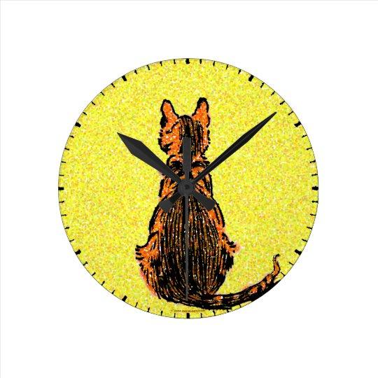 Pointilist Cat Clock