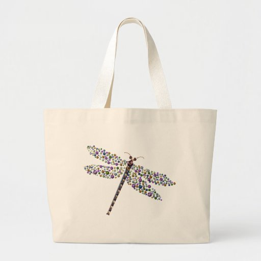 Pointilist Dragon Fly Jumbo Tote Bag