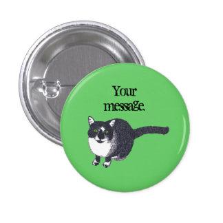 Pointillism blanco negro lindo del gato su botón d pin redondo de 1 pulgada