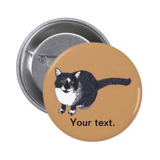 Pointillism blanco negro lindo del gato sus botone pin redondo de 2 pulgadas