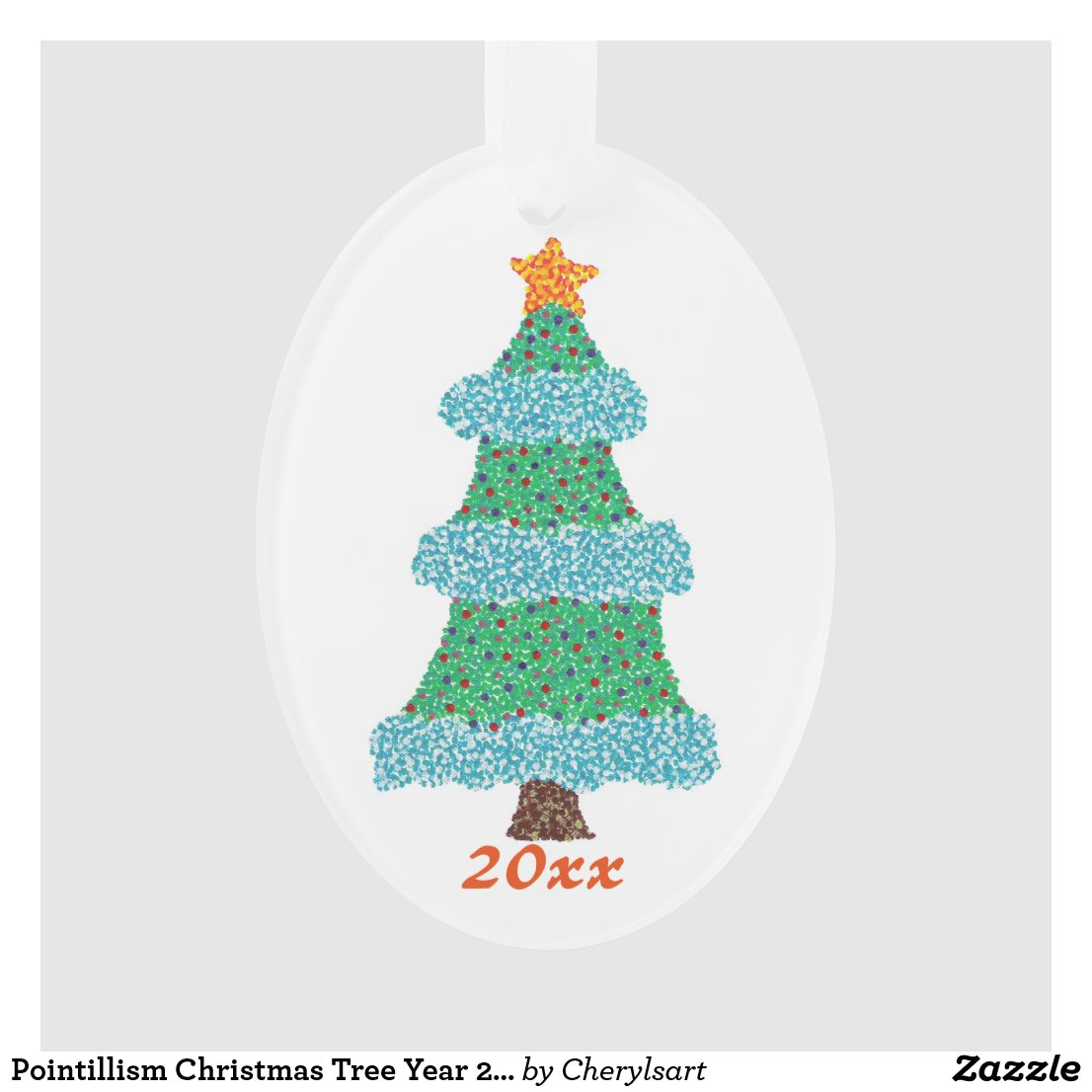 Pointillism Christmas Tree Year 20xx Ornaments