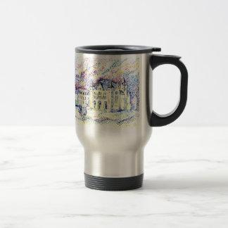 Pointillism city travel mug