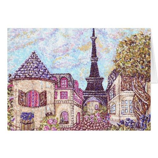 Pointillism del paisaje urbano de París con la tor Felicitaciones
