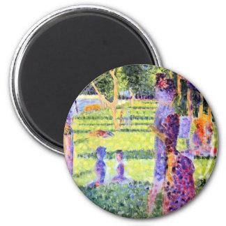 Pointillism del vintage, el par de Jorte Seurat Imán Redondo 5 Cm