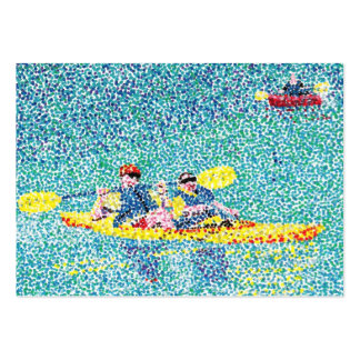 Pointillism Kayak Scene Artist Trading Card Large Business Cards (Pack Of 100)